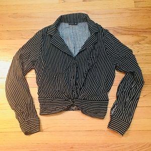 Retro Black & White Striped Knot Crop Blouse